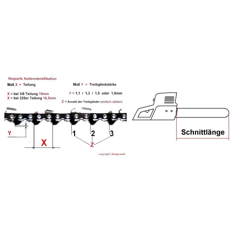 """Sägekette passend für Solo 645 45 cm 325/"""" 72TG 1,5mm Halbmeißel chain"""
