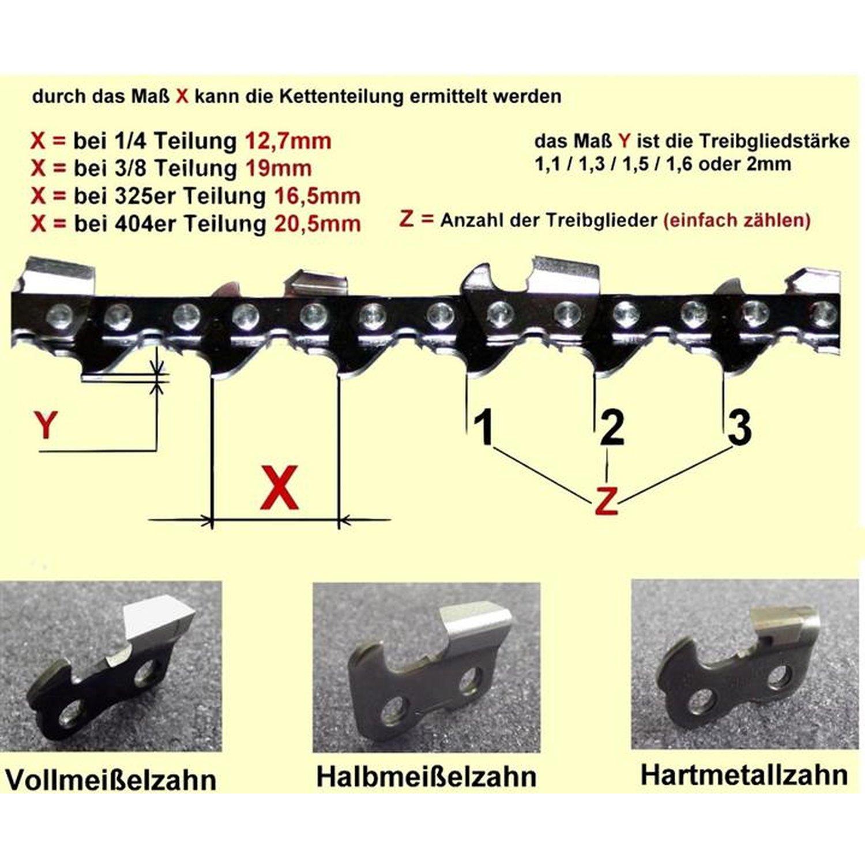 """Schwert 2 Ketten passend für Partner 540 50 cm 325/"""" 78TG 1,3mm Sägekette chain"""